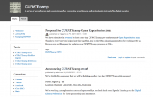 Screenshot of CURATEcamp home page
